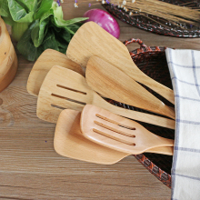 Solid  Wood Turner for Non-stick Pan Long Handle Food Shovel Cooking Shovel Spatula Slice Natural Wood Kitchen Cooking Tools