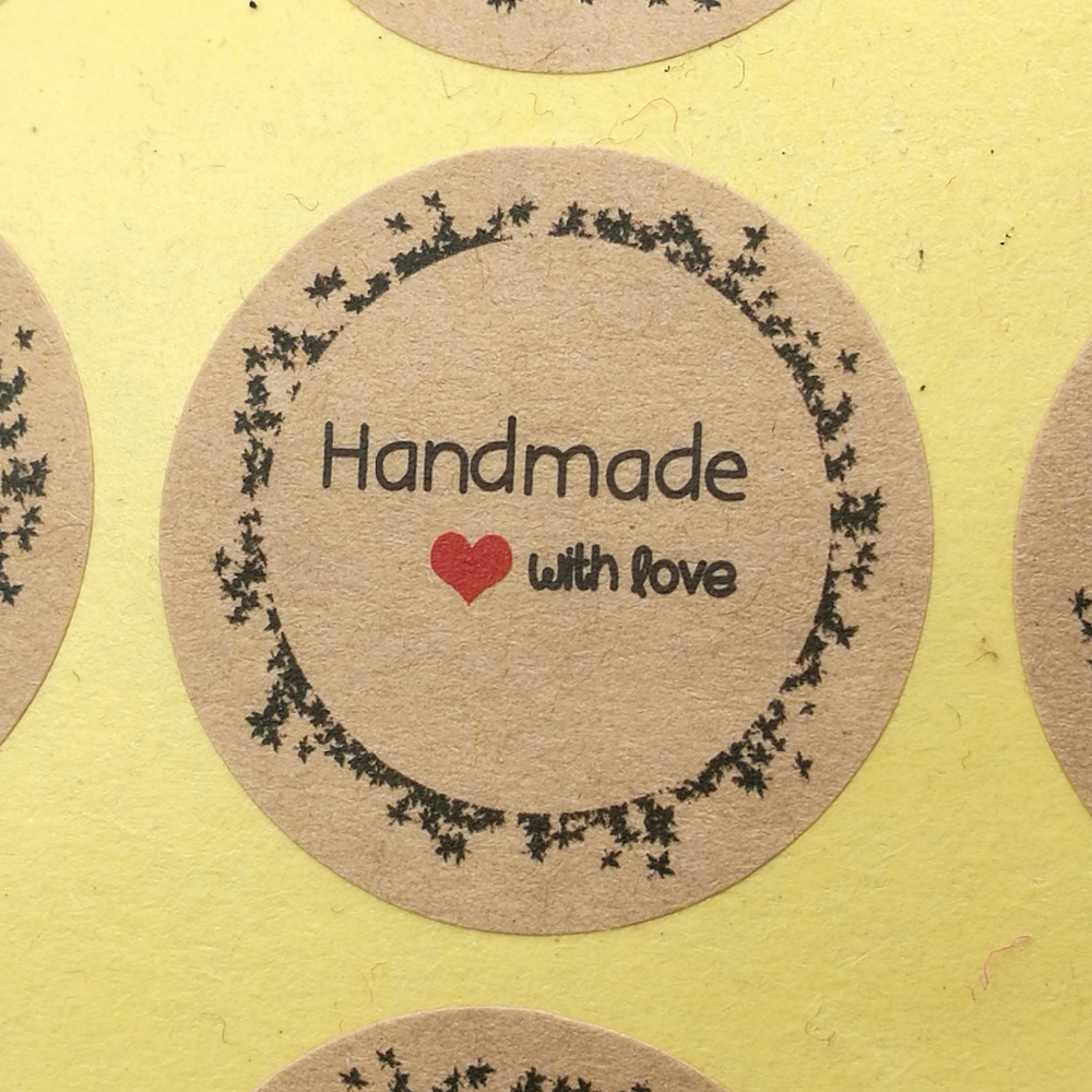 120pcs Paper Thank You Self-adhesive Kraft Sticker Labels Packing Handmade Cake/Cookie/Small Product Wrapping Seal 3cm Stickers