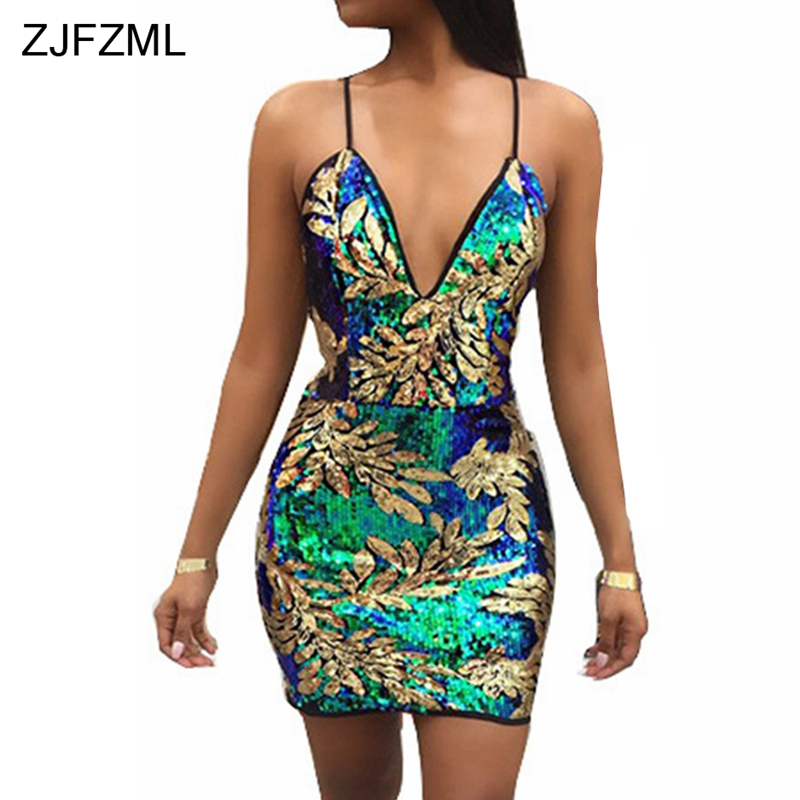 ZJFZML <font><b>Sexy</b></font> Gold Green Sequins Dress <font><b>2018</b></font> Women V Neck Sleeveless <font><b>Party</b></font> Dress Luxury Backless Sequined Dress Sundress Vestidos image