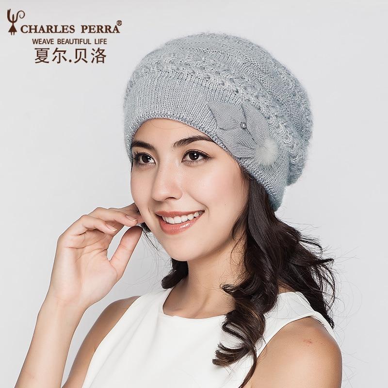 Charles Perra Frauen Strickmützen Winter verdicken Doppelschicht Elegante beiläufige Wollmischung Hut der Frauen thermische weibliche Mützen D303