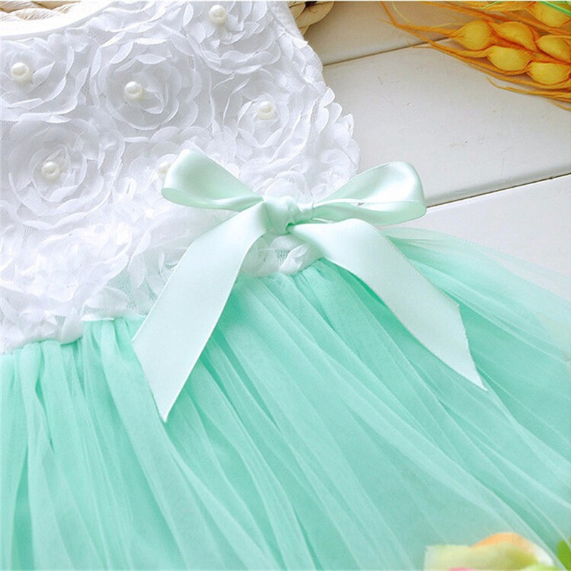 Infant Baby Girl Clothes Easter Party Wedding Christening Formal Clothes Mini Dresses For Infant 7-24M Blue Pearls Pattern (1)