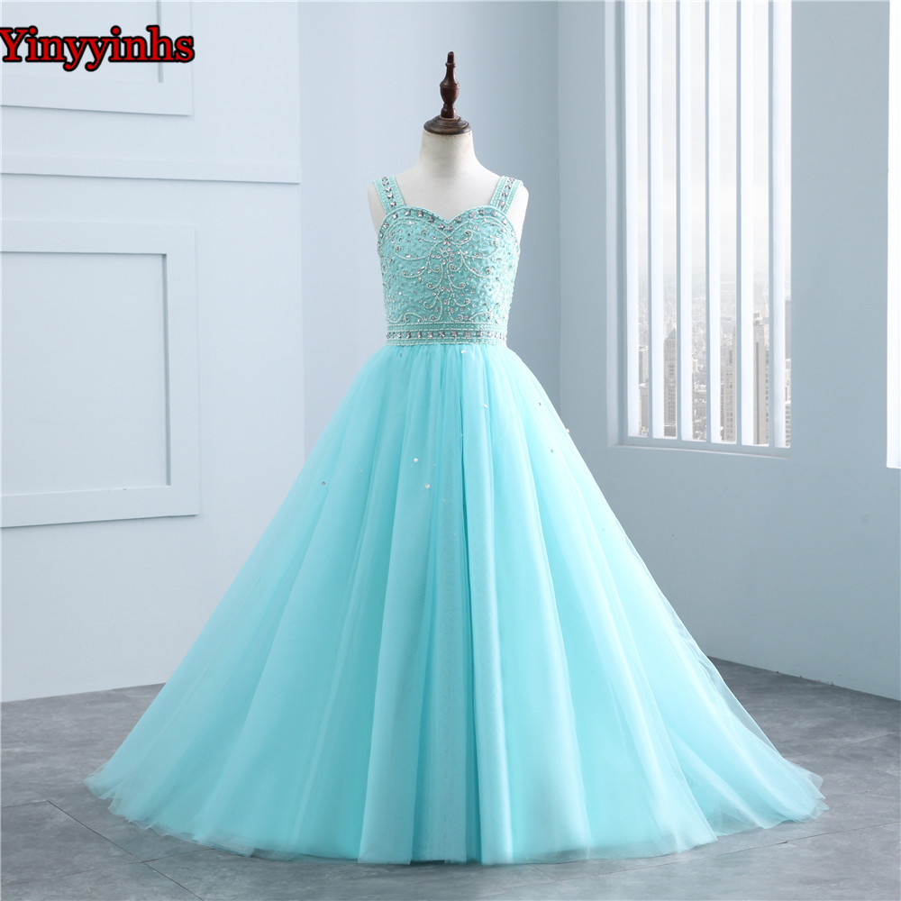 Sleeveless Flower Girl Dresses for Weddings 2019 Spaghetti Straps Lace Ball Gown Little Girls First Communion Pageant Gowns