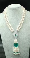 2rows 8 9mm near round white freshwater pearl necklace amazing gift hot FPPJ green stone beads