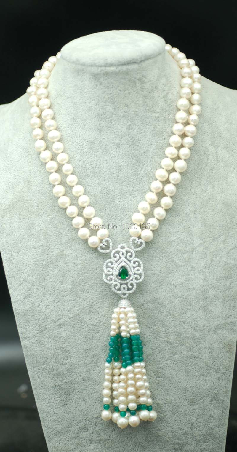 2rows 8-9mm near round white freshwater pearl necklace amazing gift hot FPPJ green stone beads polyresin round beads necklace 46 49cm 5 pack