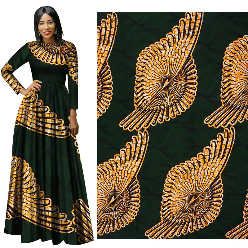 Me-dusa 2019 Latest dark green African Print Wax Fabric 100% cotton Hollandais Wax DIY Dress Suit cloth 6yards/pcs High quility(China)