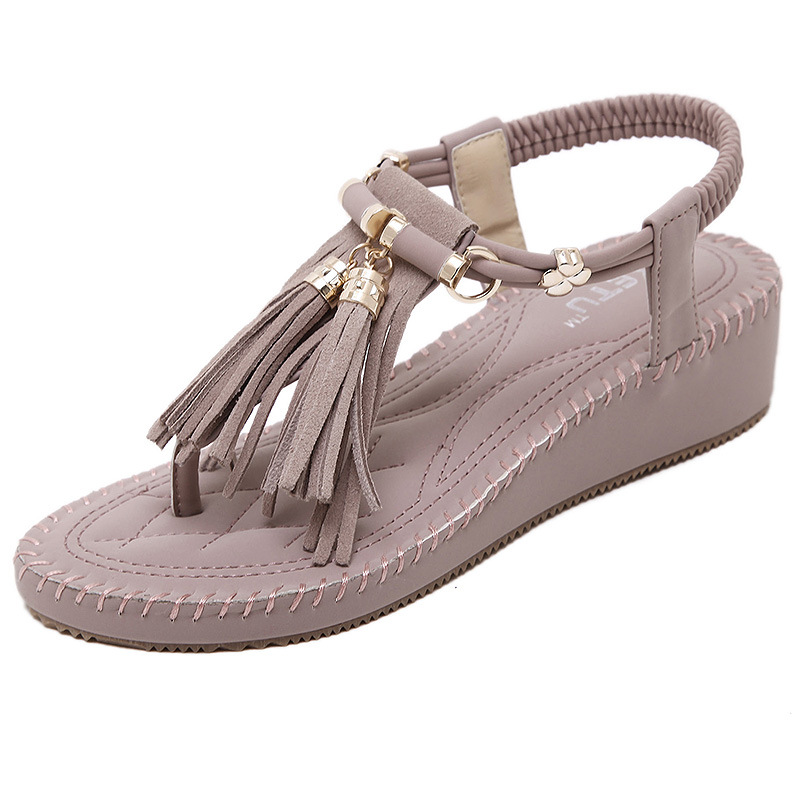 SIKETU Fringe String Beaded Women Beach Wedge Sandals Holiday Vacation Cool Soft Wearing Shoes Women Lady Loving Sexy Breathable