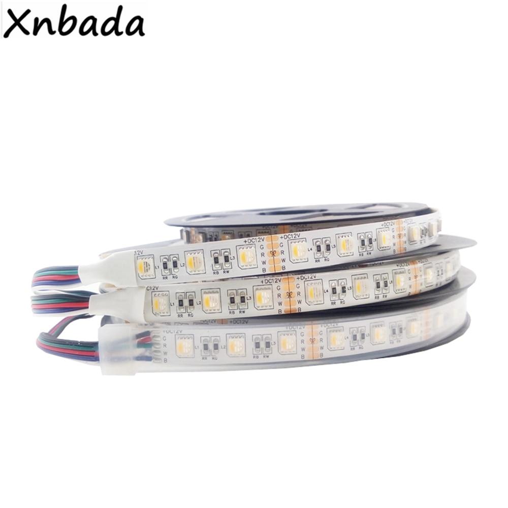 1m 2m 3m 4m 5m 5050SMD RGBW RGBWW 4 In 1 Led Strip Light,60Leds/m White PCB IP30/IP65/IP67 Flexible Led Tape Light DC12V