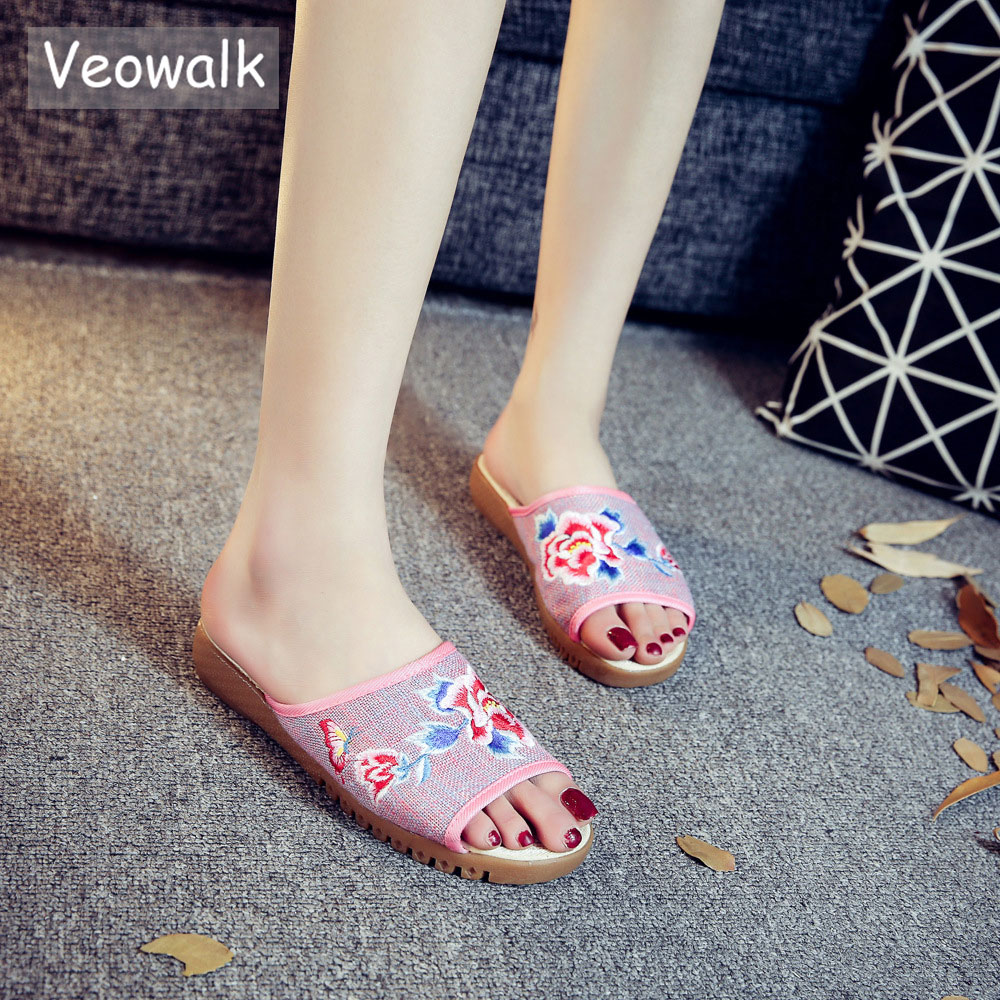 Veowalk Butterfly Embroidered Women Open Peep Toe Canvas Slide Slippers Summer Ladies Casual Comfort Platform Sandals Shoes