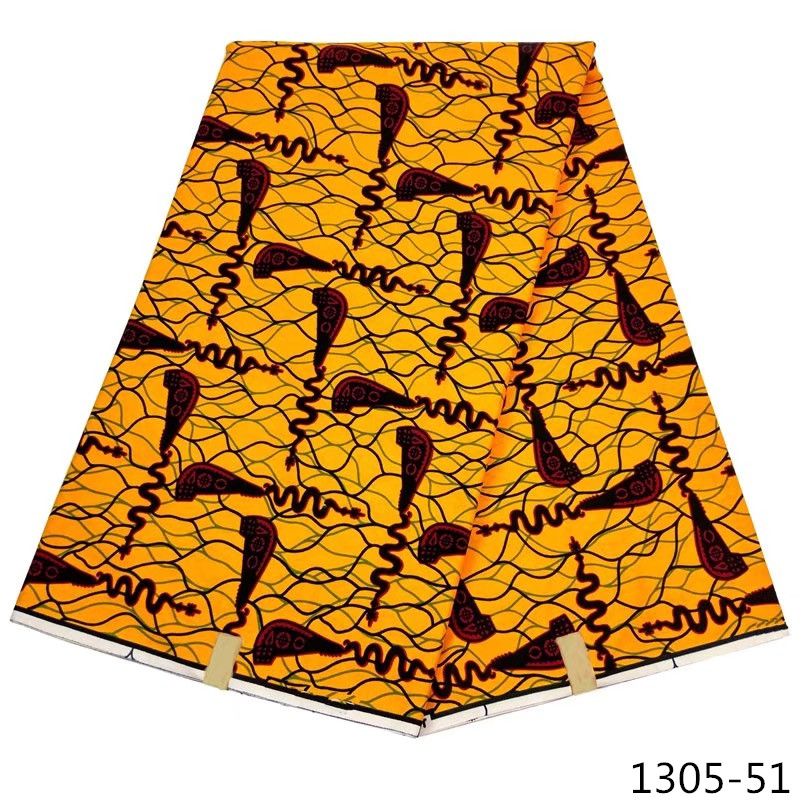New Arrival Yellow Nigeria High Quality 100% Cotton Material African Wax Fabric Nigerian Prints 1305-5