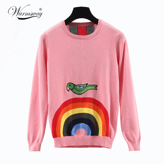 Runway Sweater New 2017 Autumn High Quality Novelty Rainbow Birds Embroidery Warm Pink / Black Knitting Sweater Pull WS-122