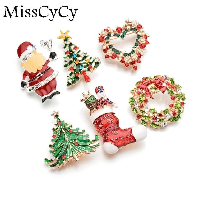 MissCyCy Hot Sale Santa Claus Christmas Trees Socks Boutonniere Rhinestone Brooches For Women Gift