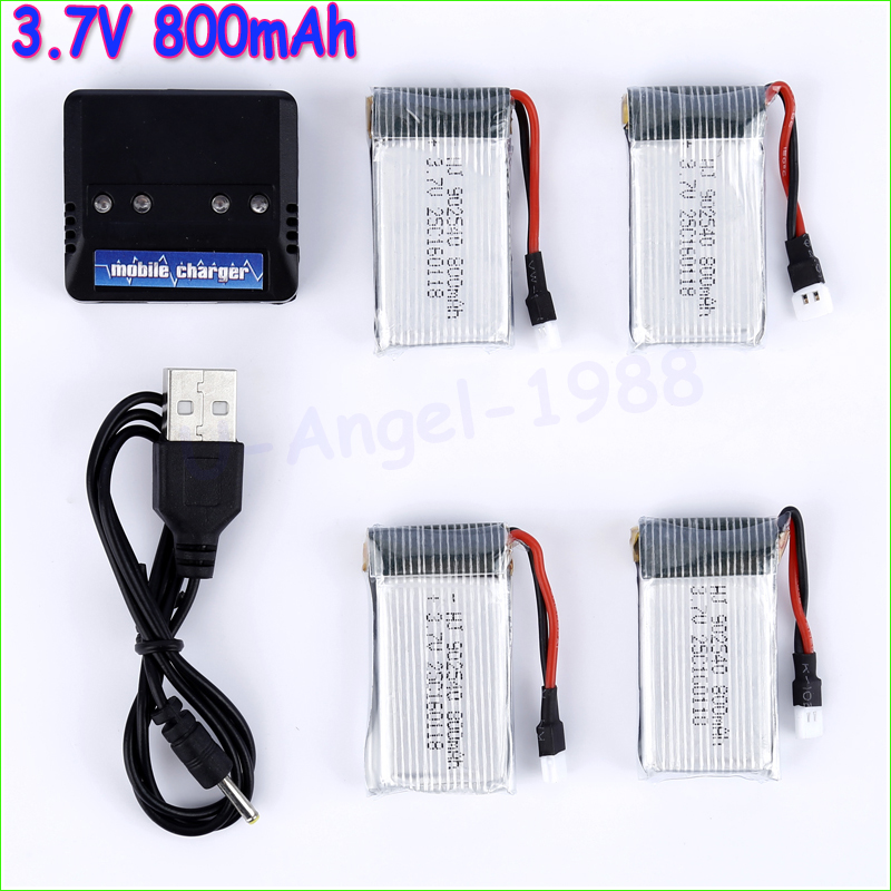 4-port Lipo battery Charger for Syma X5C WLtoys V929 with 4pcs of 3.7V 800mAh 25C Lipo battery 3pcs battery and european regulation charger with 1 cable 3 line for mjx b3 helicopter 7 4v 1800mah 25c aircraft parts