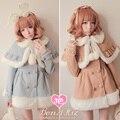 Princesa casaco lolita doce Bobon21 fur bola bulbo capilar pequeno manto de lã casaco de inverno quente grossa twinset creme cor c0958