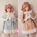 Princess sweet lolita coat Bobon21 fur ball winter warm thick hair bulb small cloak woolen overcoat twinset cream color c0958