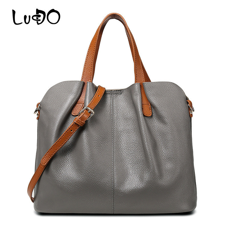LUCDO Women 100% Genuine Leather Bags Designer Luxury Handbags Lady Cow Leather Crossbody Shoulder Bags Bolsa Feminina Tote Bag charmiyi 2018 women handbags cowhide leather messenger bags luxury brand lady tote casual crossbody travel bag bolsa feminina