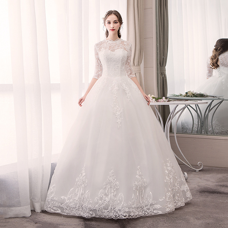 Do Dower 2019 New Elegant O Neck Wedding Dress Fashion Sexy Backless Embroidery Custom Made Wedding
