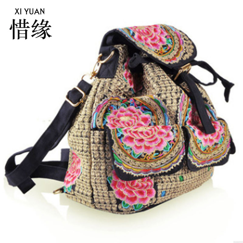 XIYUAN BRAND high quality and new fashion woman canvas embroidery ethnic backpack handmade ethnic style shoulder