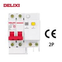 DELIXI CDB6iLE 2 P 400 V 10A 16A 20A 25A 32A 63A мини-выключатель остаточного тока защита от короткого утечки MCB RCBO