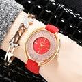 Женщины Часы Кожа Розового Золота Простой Циферблат Женева Швейцарские Часы Женская Мода Часы Платье Девушка Водонепроницаемый Женские Часы Браслет