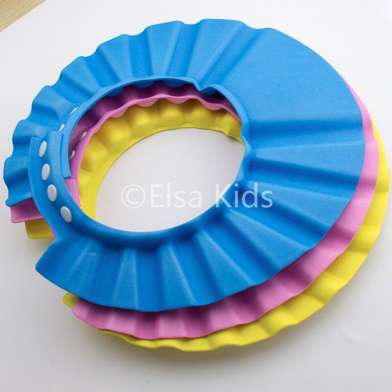 Baby Shower Cap Solid Adjustable Hat Toddler Kids Shampoo Bath Bathing Wash  Hair Shielder Protector For