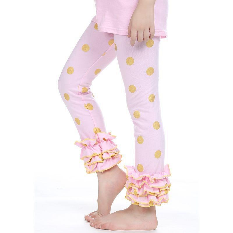 Girls Mint Gold Polka Dot Ruffle Footless Tights Metallic