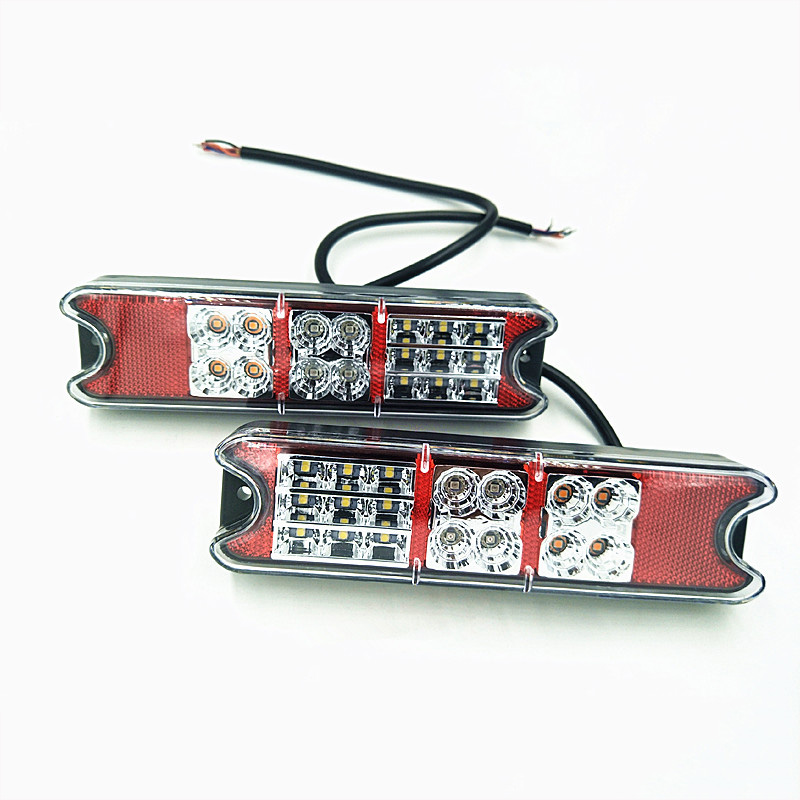 1 Pair 10-32V LED Forklift Tail Lights Truck Trailer Rear Stop Brake Light Reverse Lamp