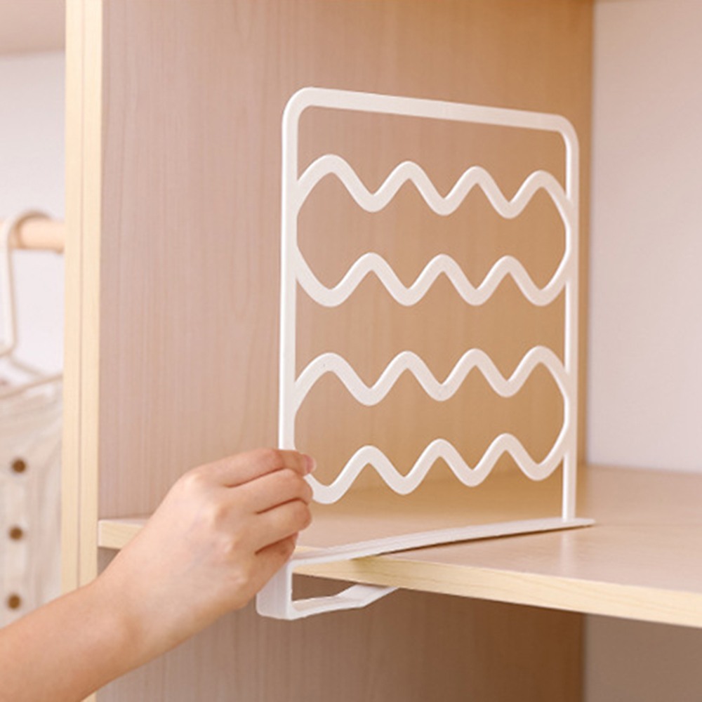 Universal Closet Shelf Dividers Wardrobe Storage Layered Separator Plate Fender Clothes Wire Shelving Towels Hats Organizer Less Expensive Storage Holders & Racks