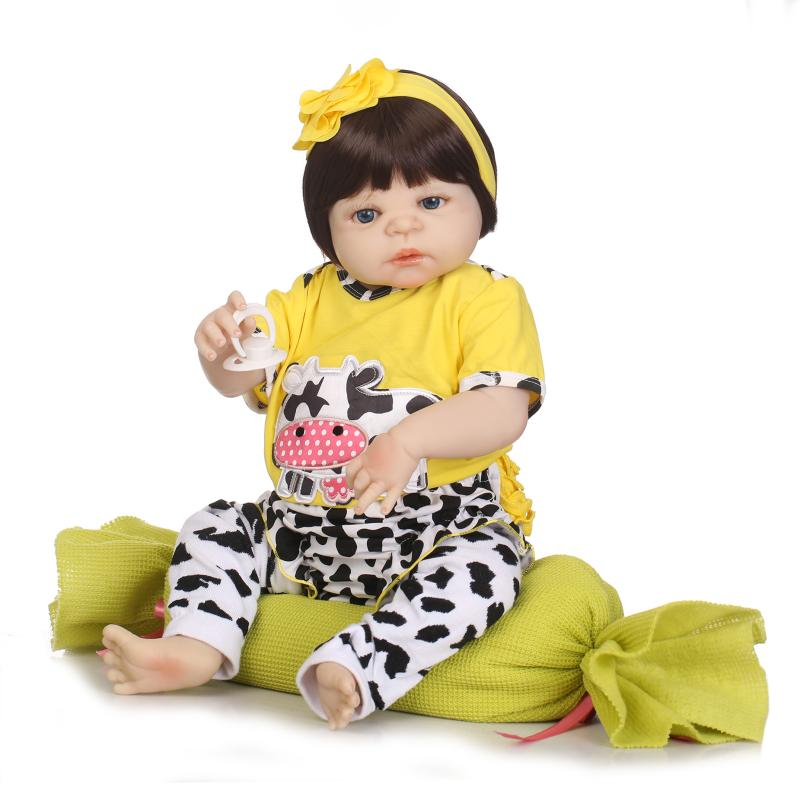 22 inches 2018 new arrival baby doll toy 56 cm all vinyl body reborn dolls for girls toys with plush toys little girl born doll little cute flocking doll toys kawaii mini cats decoration toys for girls little exquisite dolls best christmas gifts for girls