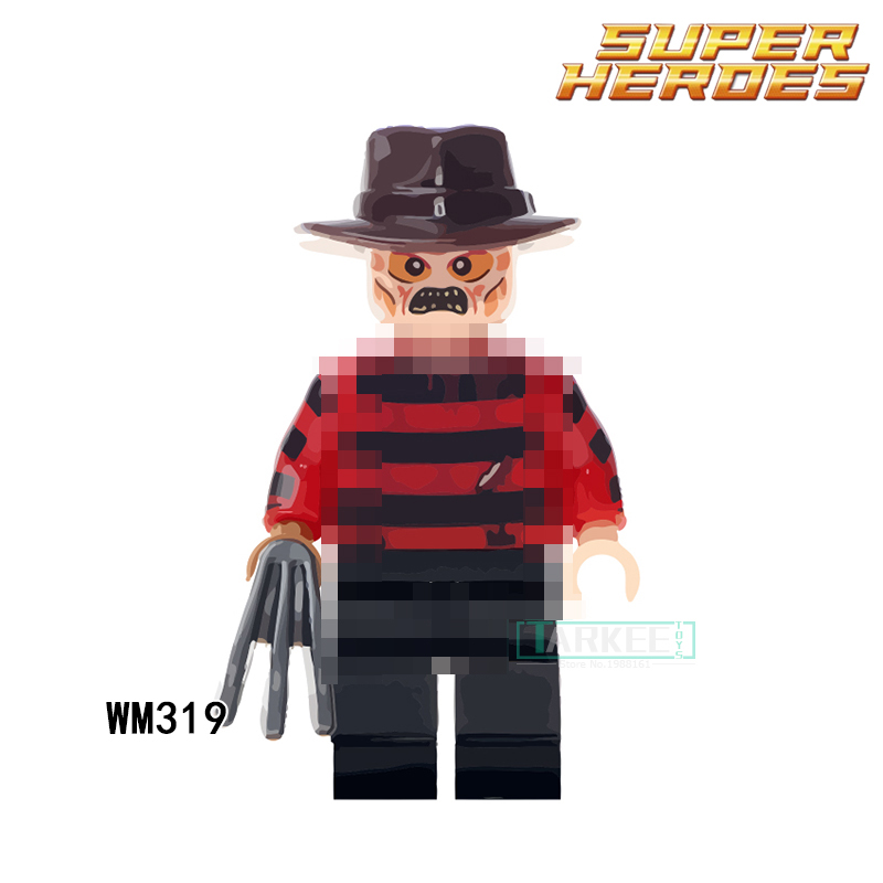 WM319 Building Blocks Super Heroes Freddy Krueger The Horror Theme Movie Action Figures Kids DIY Toys Hobbies Model for Children super heroes batman the scuttler building blocks new year gift diy figures toys for children compatible lepins 3d model