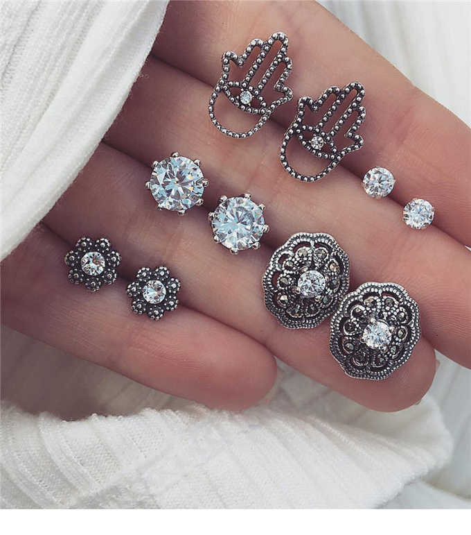 5 Pairs/Set Vintage Round Geometric Crystal Stud Earrings Set Bohemian Long Earrings for Women Pendientes Brincos