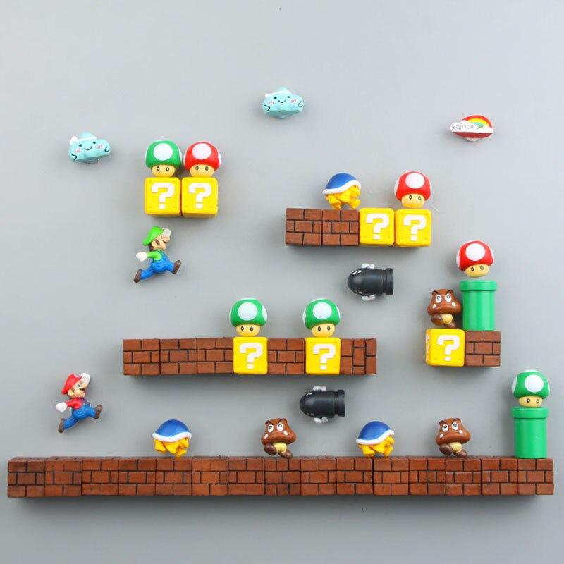 Glorieus Cartoon Creatieve 3d Super Mario Bros Magneten Koelkast Bericht Sticker Kinderen Student Speelgoed Verjaardagscadeau Home Decor Modieuze Patronen