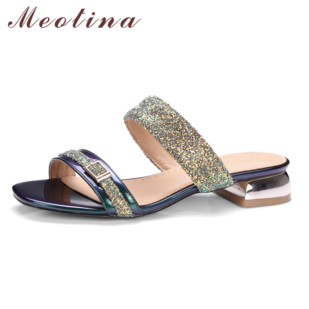 Meotina Women Sandals Summer Women Slides Glitter Low Heel Slippers Causal Beach Shoes Ladies Sandals Gold Green Large Size 9 10