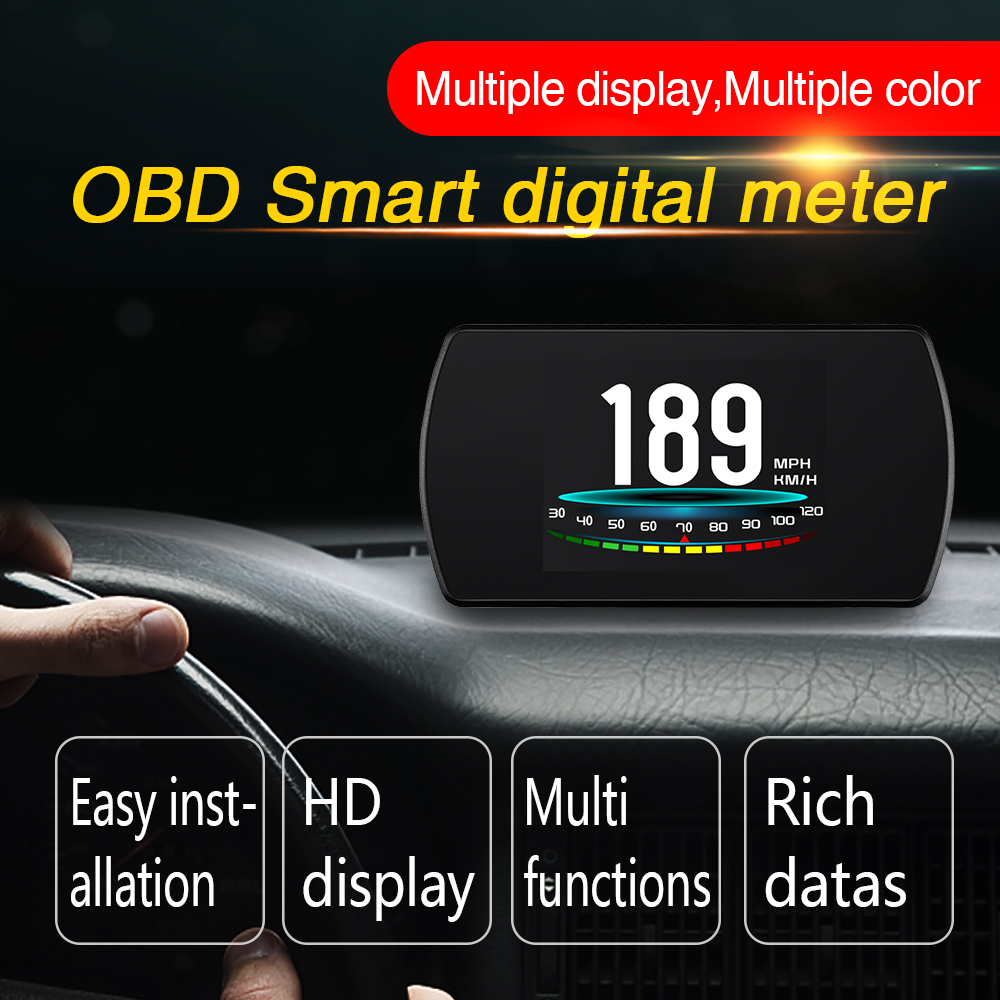 P12 HUD Head Up Display Smart Digital Car Speedometer Trip Computer OBD 2 Speed Engine RPM Fuel Consumption Windshield Projector