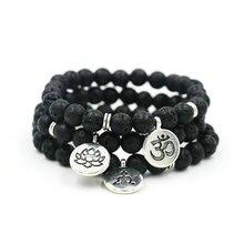 Natural lava vulcânica pedra budismo energia oração contas om pulseira para homens mulheres casais lótus buda charme yoga pulseira
