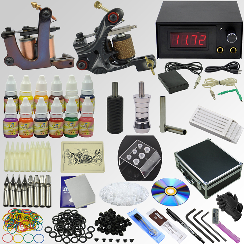 купить OPHIR Pro Whole Set Tattoo Kits 2 Tattoo Machine Guns 12x10ml Ink Pigments Tattoo Supplies Needle Nozzle Set Body Art Tool_TA074 онлайн