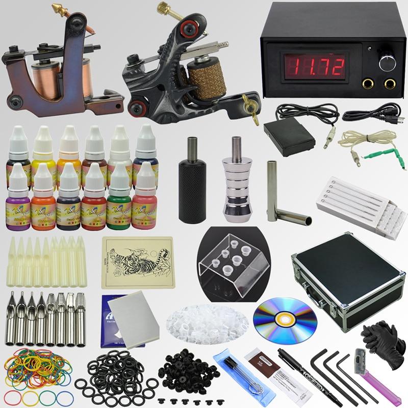 OPHIR Pro Whole Set Tattoo Kits 2 Tattoo Machine Guns 12x10ml Ink Pigments Tattoo Supplies Needle Nozzle Set Body Art Tool_TA074 ophir 0 2mm 0 3mm