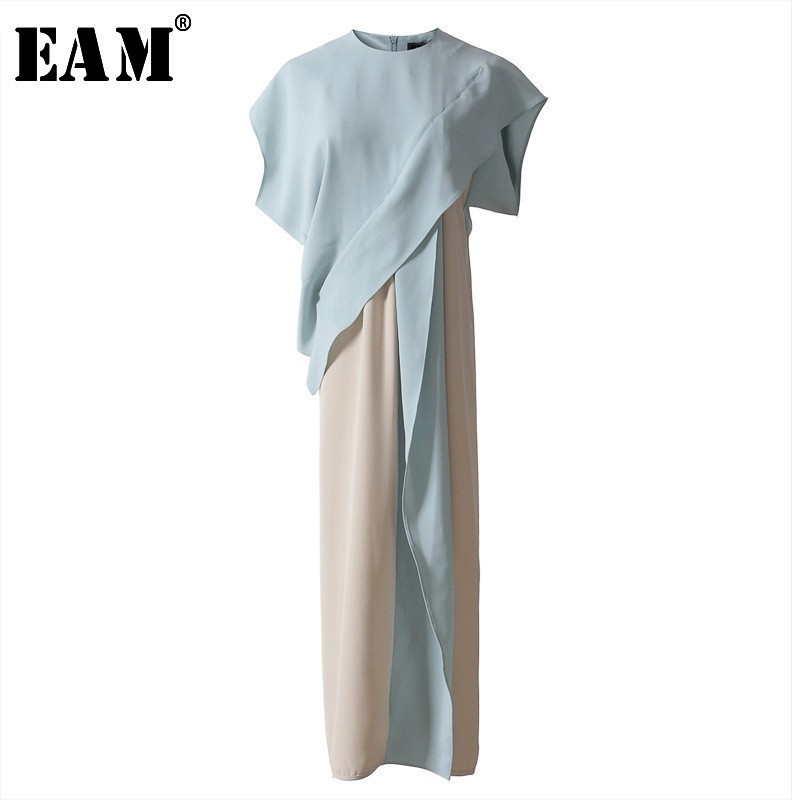 [EAM] 2020 Spring Summer  Fashion New Round Collar Short Sleeve Hit Color Stitching Bandages Ruffle Women Dress YC846