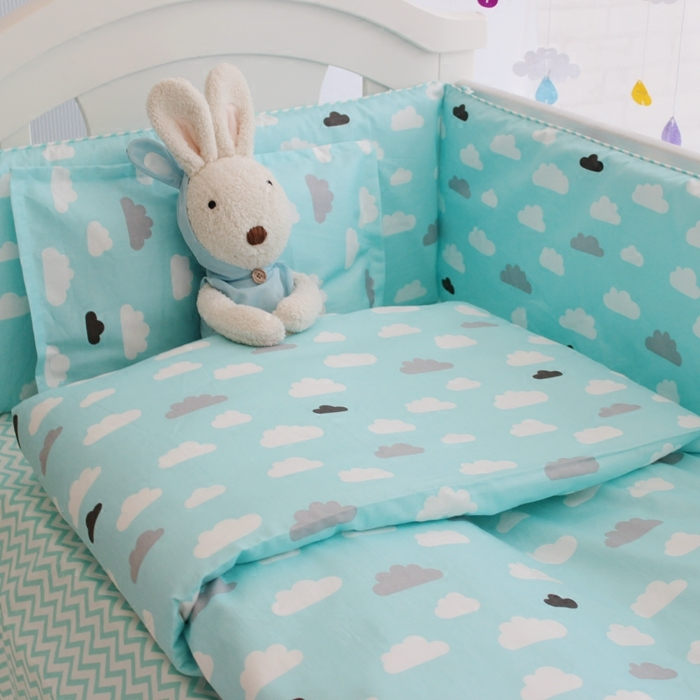 Nordic Style Cotton Baby Bed Bumper Bed Sheets Washable Zippered Cartoon  Clouds Pattern Crib Baby Bumper Bedding In Bedding Sets From Mother U0026 Kids  On ...