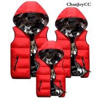 ChanJoyCC Winter Down Parkas New Design Mom Dad Baby Boys Girls Warm Solid Cotton100 Coat Kid