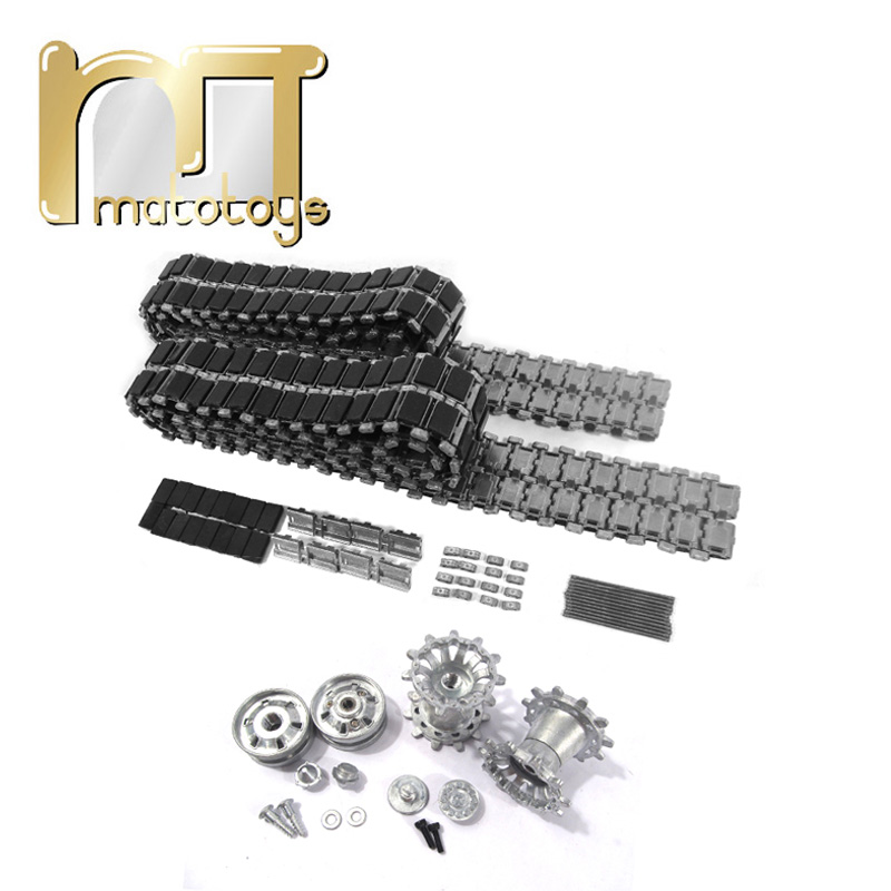 Mato 1:16 Metal Tracks Sprockets Idler Wheels With Bearings Kit For Heng Long 1/16 3908-1 British Challenger 2 RC Tank mato metal tracks sets sprockets with metal caps idler wheels with bearings for heng long 3938 russian t 90 1 16 tank
