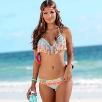 2017 NEW Swimwear Woman Ethnic Sexy Bikini Set Color Tassel Swimsuit Summer Bathsuit Strappy Women Push