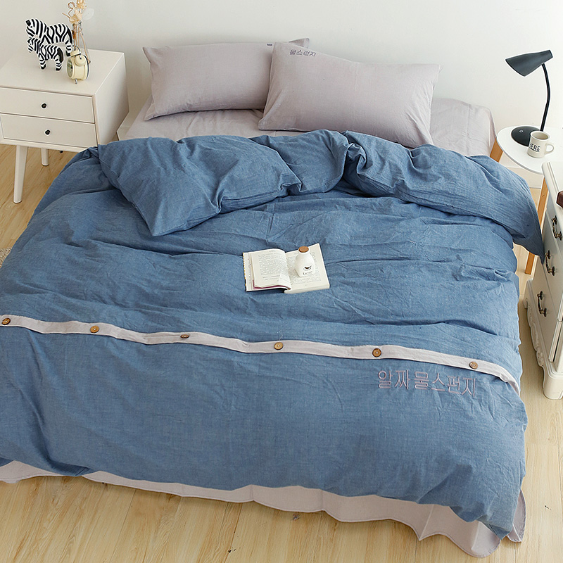 Korean Style Solid Color Blue/Pink/Beige/Grey Bedding Set Queen Size Soft  Washed Cotton Fabric Duvet Cover Bedsheets Bedroom Set In Bedding Sets From  Home ...