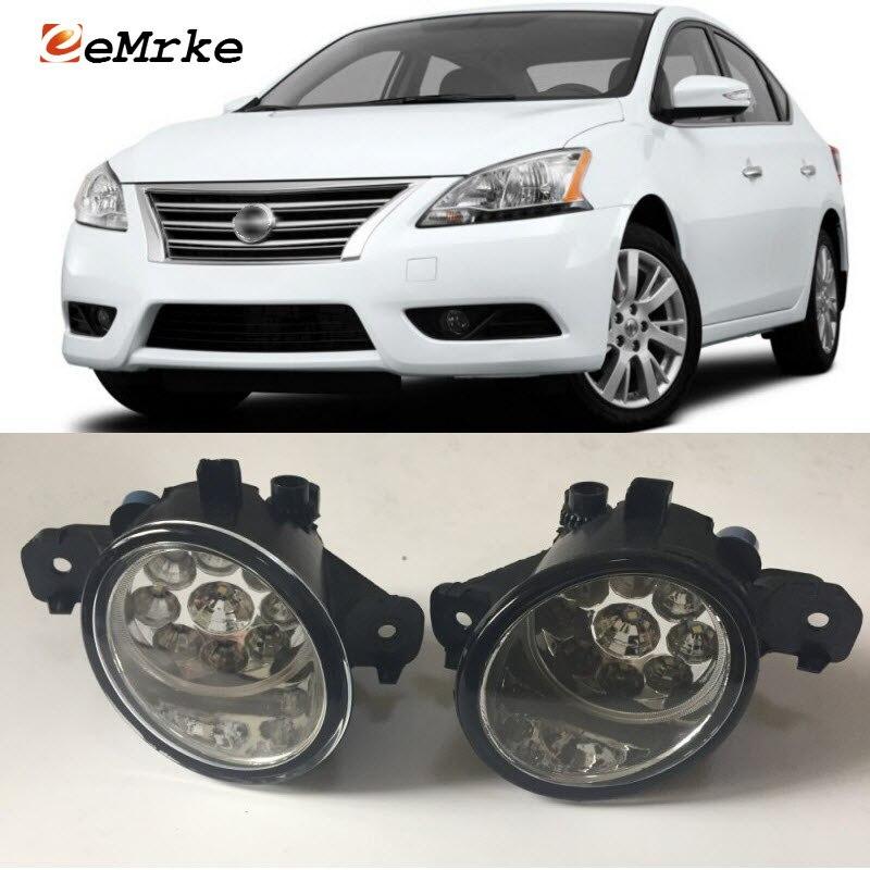 EEMRKE For Nissan Sentra 2007-2017 9-Pieces Led Halogen Fog Lights 12V 55W Fog Head Lamp Car-Styling купить бампер nissan almera n16