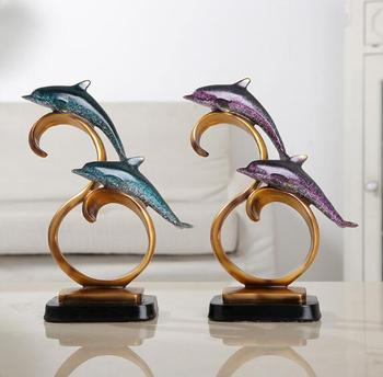 Marine Animal Dolphin Statue Liquor Cabinet Living Room Office Home Decoration Wedding Resin Handicraft