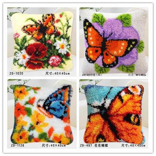 Новый Подушка DIY Вышивка ковры одеяло Вязание иглы фетр craft подушки крюк блокировки вышивки крестом Бабочка Цветочный