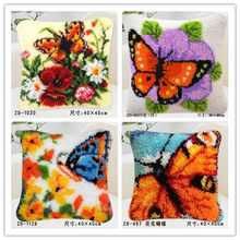 new diy Pillow embroidery carpet blanket knitting needle felt craft cushion carpet lock hook cross stitch butterfly floral(China)