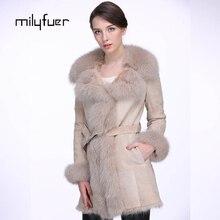 Milyfuer Fox Fur Coats Women Genuine Fox Fur Collar Fashion Wool Coat Full Pelt Solid Natural Fur Winter Autumn Keep Warm Coat