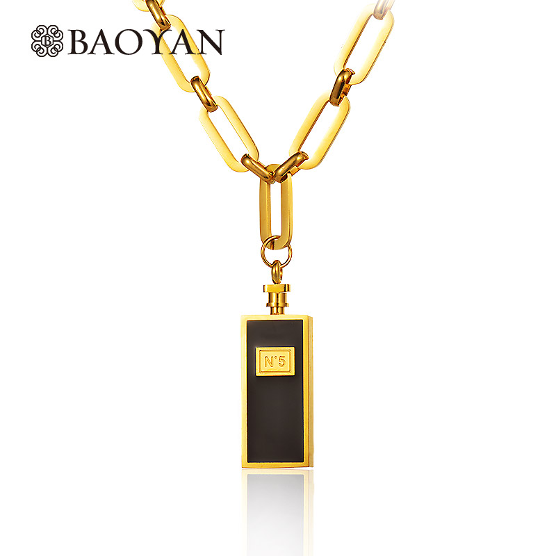 Baoyan 316L Stainless Steel Silver Gold Color Number N 5 Perfume Bottle Chunky Heavy Gold Long  Chain Pendant Necklace for Women