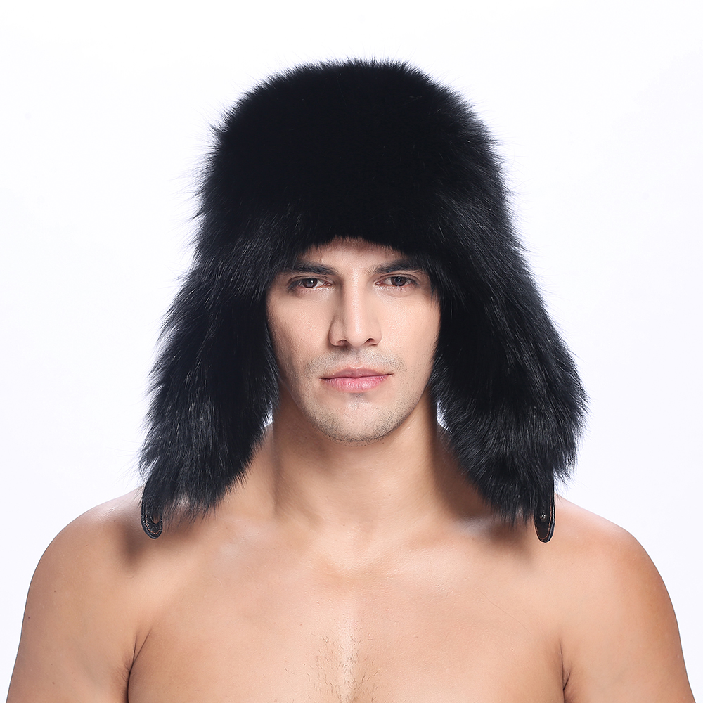 Hats Beanies Headgear Snow-Caps Capswinter with Fur Men Back Real-Leather Trapper ZY84016