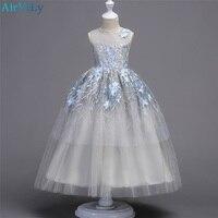 Teenager Wedding Flower Girls Princess Tulle Kids Girls Elegant Pageant Party beauty Floor long Dress for 8 10 12 14 16 18
